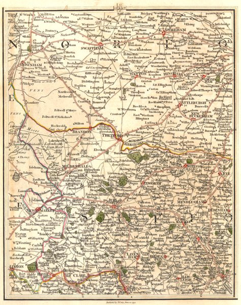 Associate Product EAST ANGLIA & FENS. Norfolk Suffolk. Ipswich Bury St Edmunds. CARY 1794 map