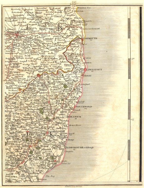 Associate Product NORFOLK BROADS & SUFFOLK COAST. Norwich Great Yarmouth Lowestoft. CARY 1794 map