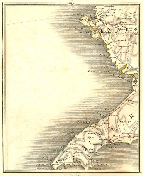 Map Of England Holyhead.Details About Caernarfon Bay Anglesey Ll N Llyn Peninsula Holyhead Pwllheli Cary 1794 Map