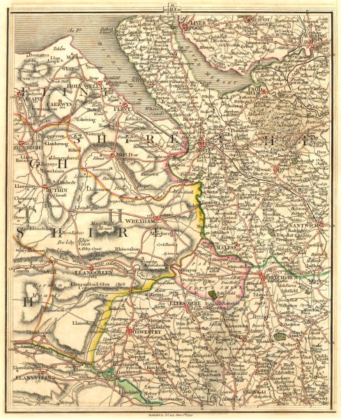Associate Product MERSEYSIDE NE WALES CHESHIRE N SHROPS.Liverpool Warrington Chester.CARY 1794 map