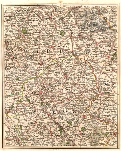 Associate Product CHESHIRE STAFFS. Tatton Alderley Edge Wilmslow Mottram St Andrew. CARY 1794 map