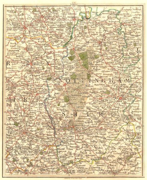 Associate Product NOTTINGHAMSHIRE, E DERBYSHIRE S YORKS. Derby Nottingham Sheffield. CARY 1794 map