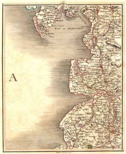 Associate Product LANCASHIRE COAST. Lancaster Preston Lytham Blackpool Barrow Wigan. CARY 1794 map