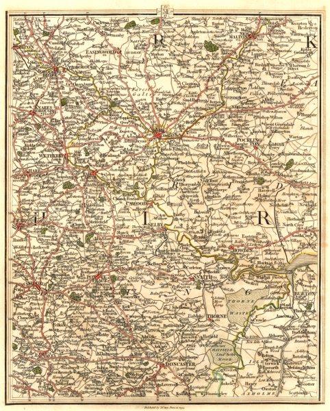 Associate Product YORKSHIRE. Leeds York Harrogate Barnsley Doncaster Pontefract. CARY 1794 map