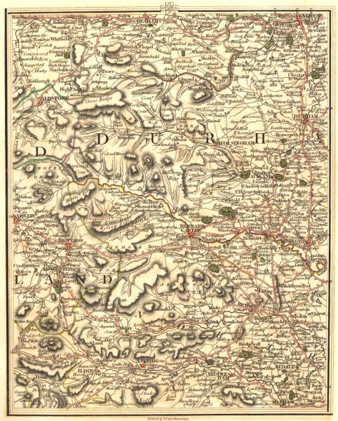 Associate Product NORTH PENNINES & YORKSHIRE DALES.Durham Newcastle On Tyne Richmond.CARY 1794 map