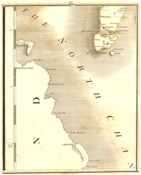 Associate Product MULL OF KINTYRE. Cambelton. & Ulster. Larne, Ballycastle. CARY 1794 old map