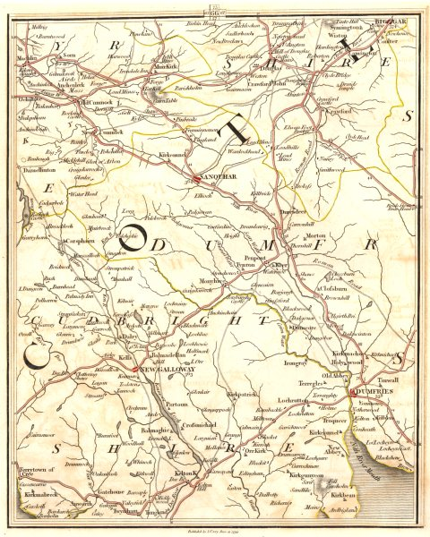 Associate Product DUMFRIES/GALLOWAY.Kirkcudbrightshire Ayrshire Lanarkshire Sanquhar.CARY 1794 map