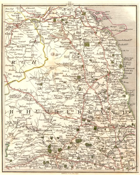 Associate Product NORTHUMBERLAND. Coldstream Kelso Alnwick Morpeth Bellingham. CARY 1794 map