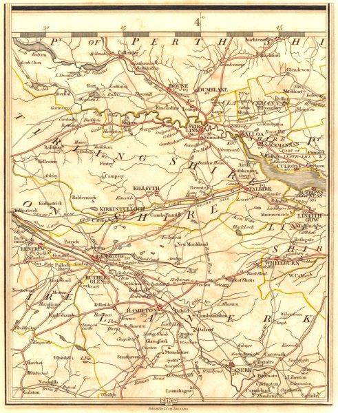Associate Product SCOTLAND CENTRAL BELT.Glasgow Stirling Livingston Hamilton Falkirk.CARY 1794 map