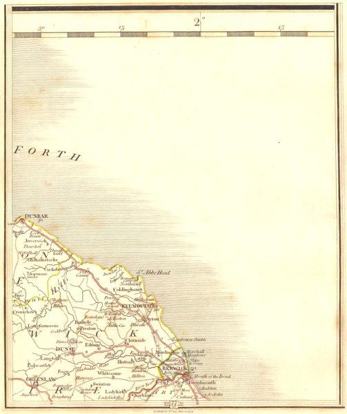 BERWICKSHIRE COAST. Dunbar Duns Eyemouth Berwick-upon-Tweed. CARY 1794 old map