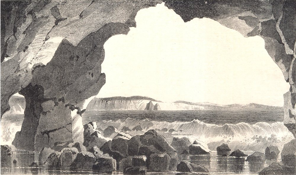 Associate Product ISLE OF WIGHT. Freshwater Cave. Breakers 1864 old antique print picture