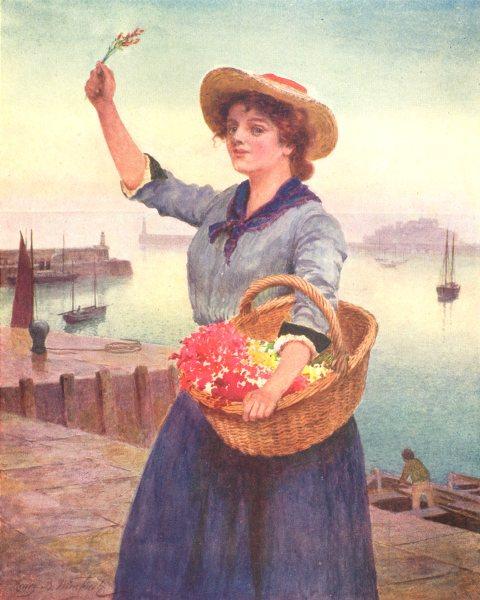 CHANNEL ISLANDS. Guernsey flower-girl 1904 old antique vintage print picture