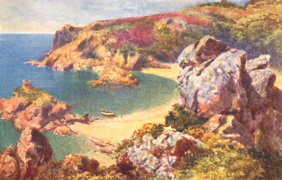 Associate Product CHANNEL ISLANDS. Portelet Bay, Jersey 1904 old antique vintage print picture