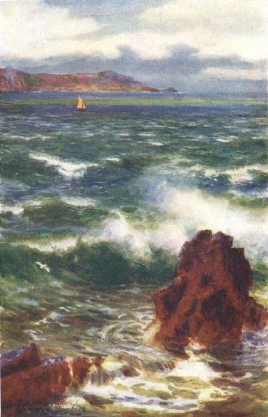 Associate Product CHANNEL ISLANDS. Rough sea, Noirmont point, Jersey 1904 old antique print