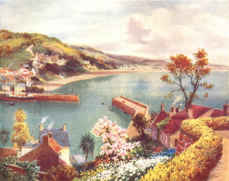 CHANNEL ISLANDS. St. Aubin, Jersey, from the Somerville hotel 1904 old print