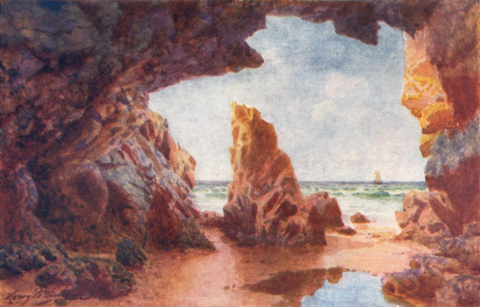 Associate Product CHANNEL ISLANDS. The Needle Rock, Grève au Lançon Jersey 1904 old print