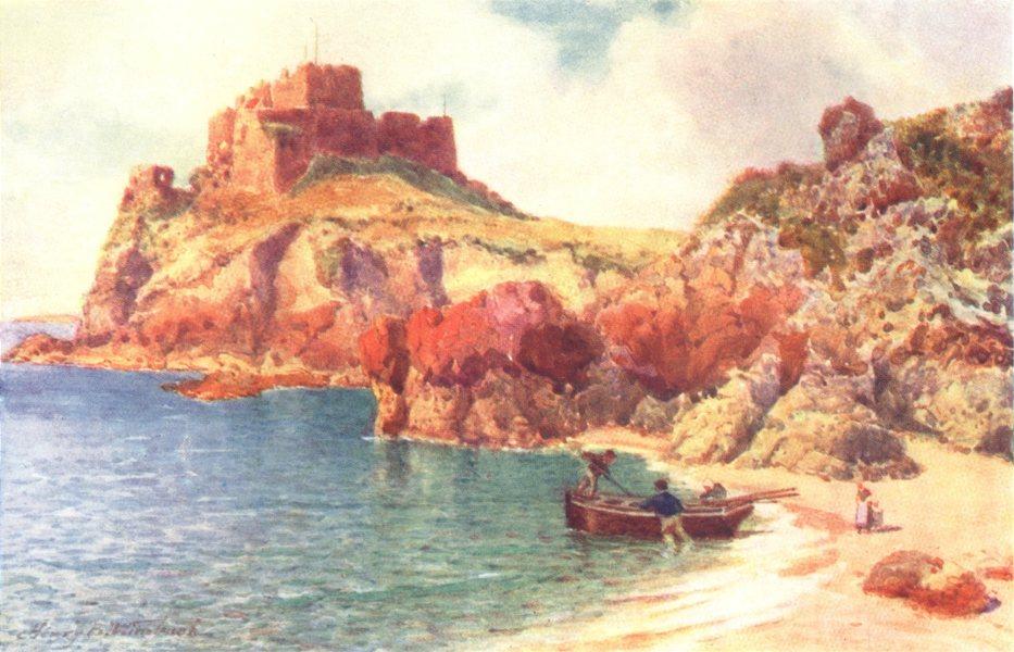 Associate Product CHANNEL ISLANDS. Mont Orgueil Castle, Jersey, from Petit Portelet Bay 1904
