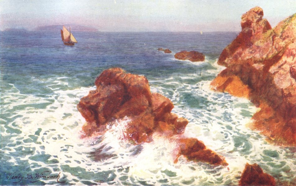 Associate Product CHANNEL ISLANDS. Grosnez Point, Jersey (Sark in distance) 1904 old print