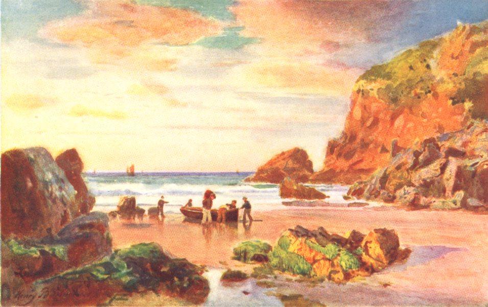 Associate Product CHANNEL ISLANDS. Grève au Lançon Plemont, Jersey 1904 old antique print
