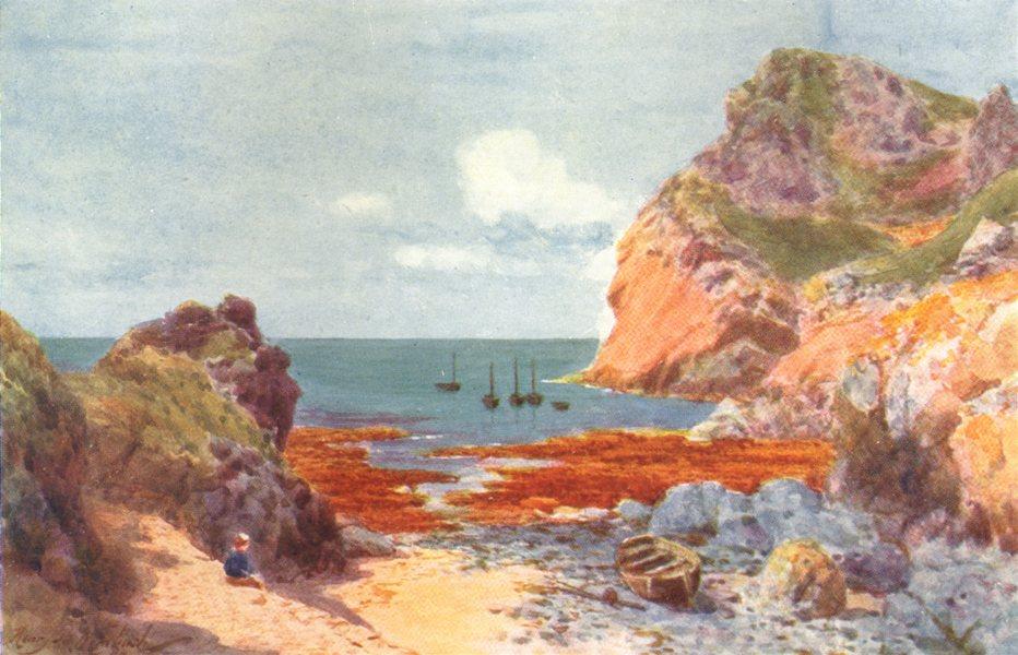 CHANNEL ISLANDS. La Poulec, L'Etac, Jersey 1904 old antique print picture