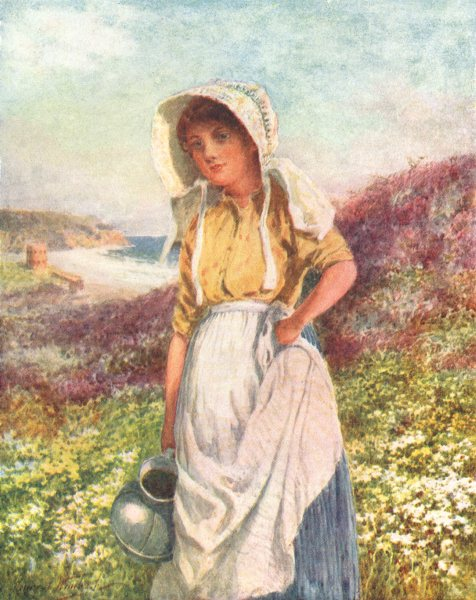 Associate Product CHANNEL ISLANDS. A Guernsey Girl 1904 old antique vintage print picture