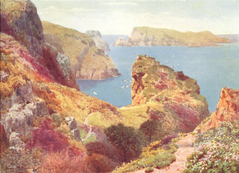 Associate Product CHANNEL ISLANDS. The Tintageu and Ile des Marchands, Sark 1904 old print