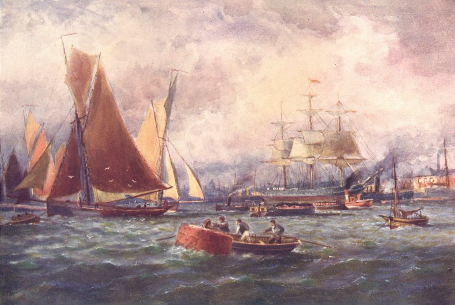 Associate Product IRELAND. Leinster. The Port of Dublin. Sailing ship. Rowing boats. c1912 print