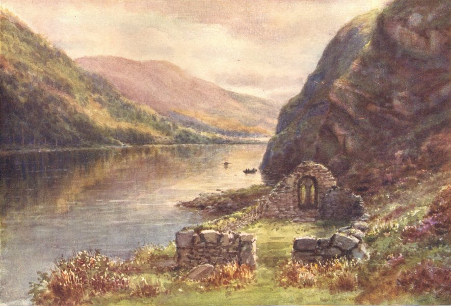 Associate Product LEINSTER. St. Kevin's Bed & Church of the Rock, Upper Lake Glendalough c1912