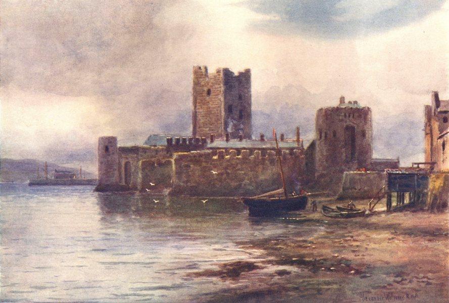 Associate Product IRELAND. Ulster. Carrickfergus Castle, Belfast Lough. Boats. c1912 old print