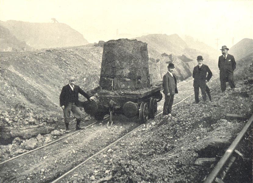 """SLAG MANUFACTURE. A Slag Heap. A """"Ball"""" about to be tipped 1912 old print"""