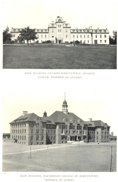 Associate Product CANADA FARM COLLEGES. College, Guelph; Macdonald College, QC 1912 old print