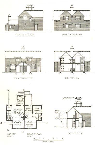 FARMING. Farm Cottages plan & elevation 1912 old antique vintage print picture