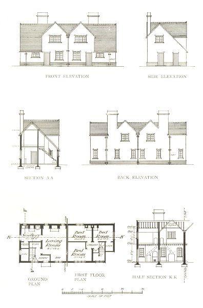 Associate Product FARMING. Farm Cottages – II-plan & elevation 1912 old antique print picture