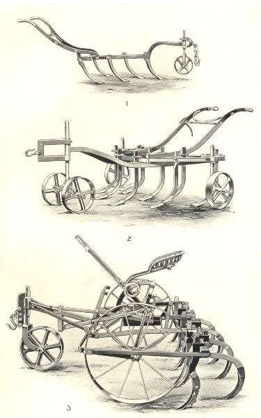 Associate Product CULTIVATORS. Jack 5-tined Drill Grubber; Ball Scuffler; Wallace Cultivator 1912