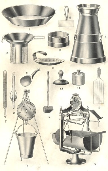 Associate Product DAIRY APPLIANCES. Milk Plate Strainer scale. Butter Scoop Beater Mould 1912