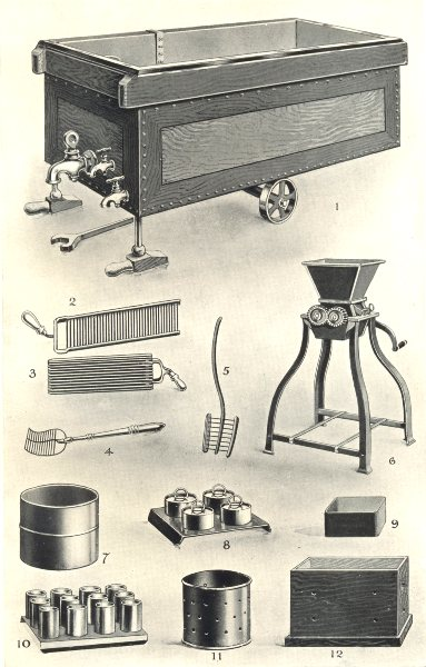 Associate Product DAIRY APPLIANCES. Cheese vat & moulds. Curd Knives Breaker Rake Mill 1912