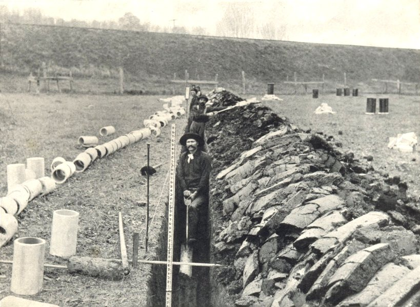 Associate Product FARM DRAINAGE. Removing the last two spadings from the ditch 1912 old print