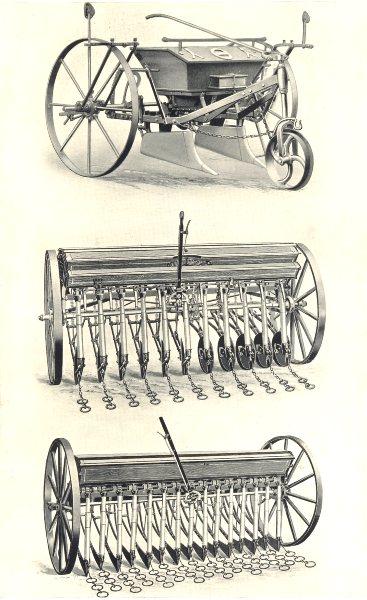Associate Product FARMING DRILLS.Wallace's Plough/Manure Distributor.Massey-Harris Disc Drill 1912