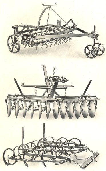 Associate Product FARMING. Harrows; Stanford's Norwegian Harrow. Howard's Disc. Spring-Teeth 1912