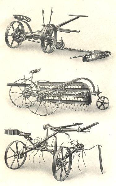"Associate Product HAYMAKING MACHINERY. ""Albion"" 2-horse Mower. Martin rake. Blackstone Turner 1912"