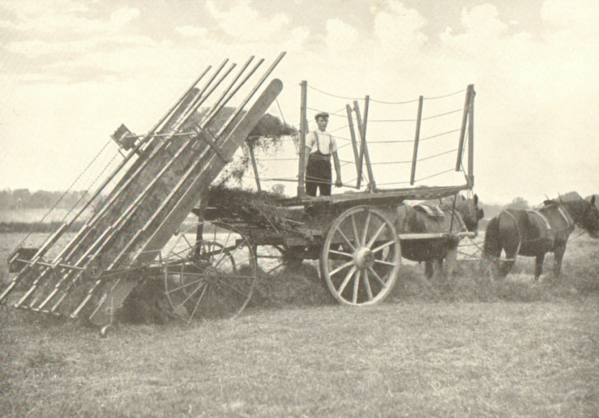 Associate Product FARMING. Haymaking Machinery – II; Hay Loader in Operation; The Start; 1912