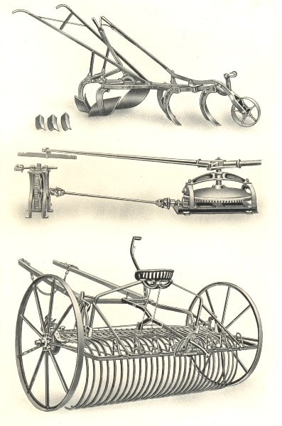 Associate Product FARM MACHINERY.Horse Hoe(Wallace,Glasgow).Gear(Hunt,Colne).Nicholson 1912