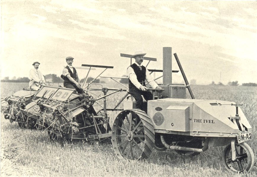 Associate Product FARM MOTORS. Ivel farm Motor Hauling Two Self-Binding Reapers 1912 old print
