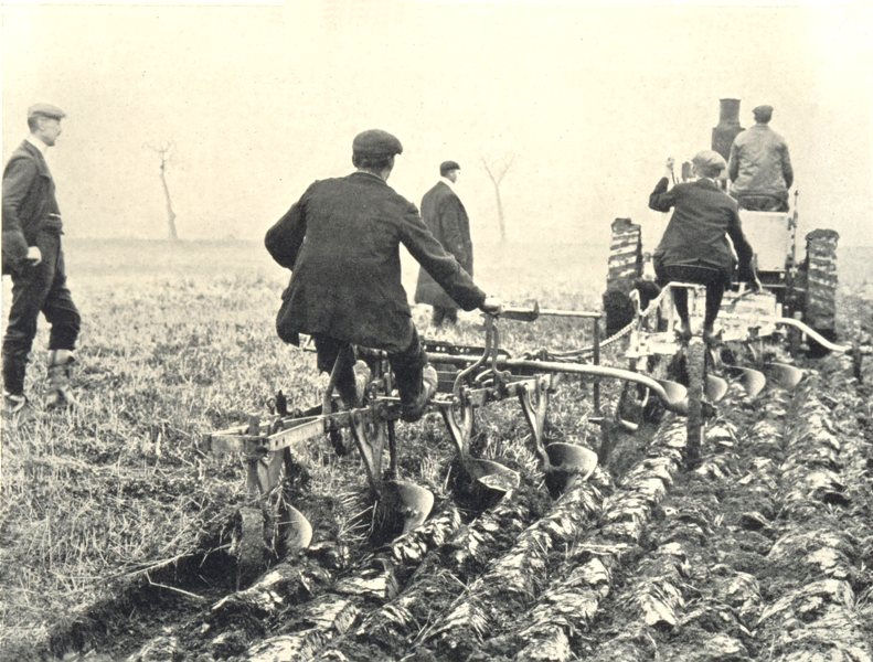 Associate Product AGRICULTURAL MOTORS. Marshall's Motor Drawing 2 4-Furrow Ploughs 1912 print