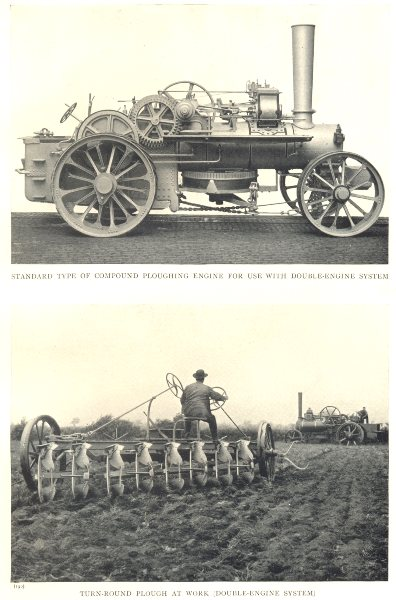 Associate Product FARMING. Steam Plough; Ploughing Engine. Turn-Round Plough at work 1912 print