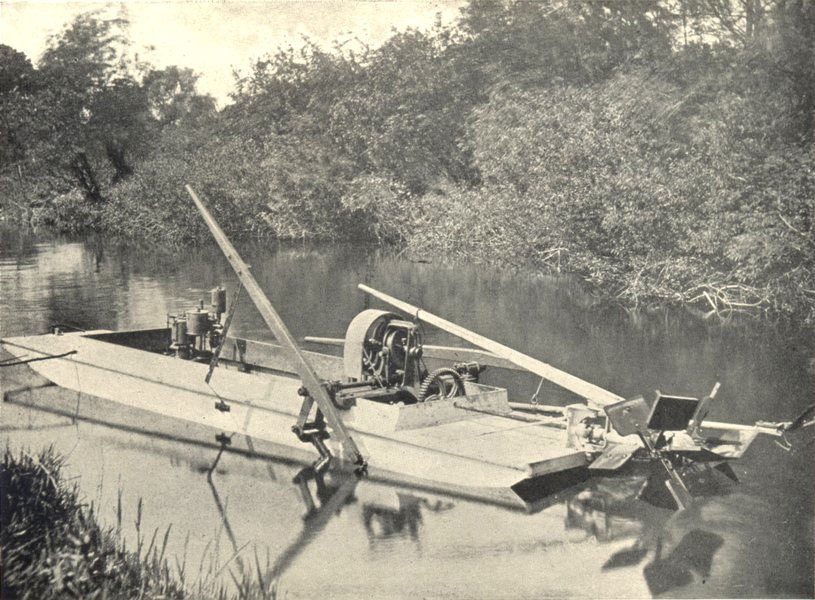 Associate Product BOATS. Motor Punt Weed Cutter (Sanderson & Gifkins, Bedford) 1912 old print