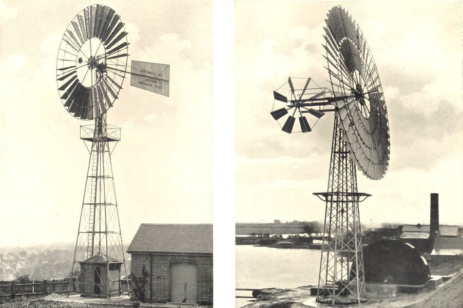 """Associate Product WINDMILLS. Direct-acting; Driving a """"scoop wheel"""" lift for land drainage 1912"""