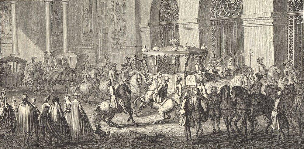 Associate Product 18TH CENTURY FRANCE. Reception of an Ambassador at Versailles; Parrocel 1876