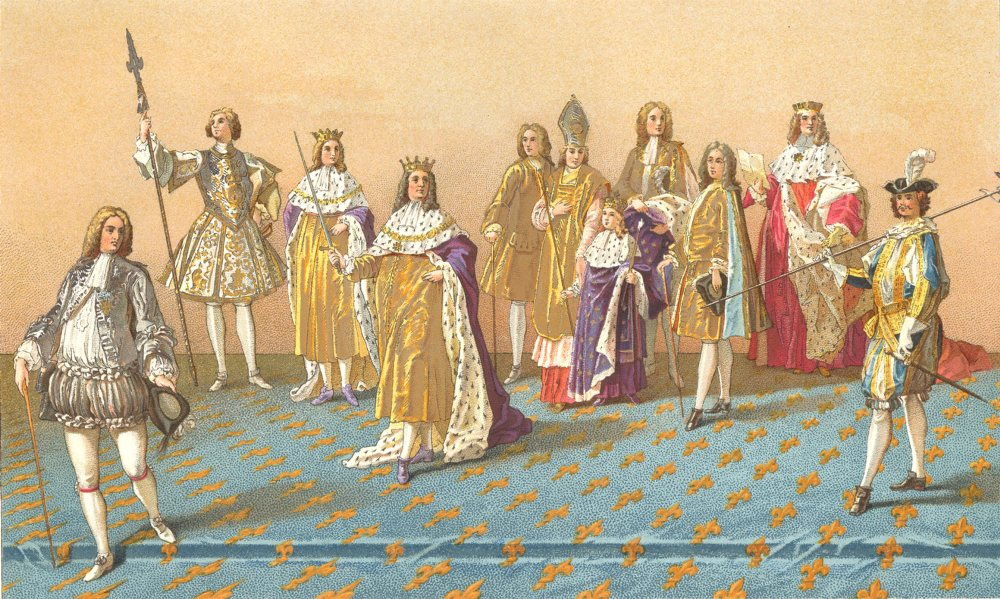 Associate Product 18C FRANCE. The Great Officers of State at a Coronation. Chromolithograph 1876