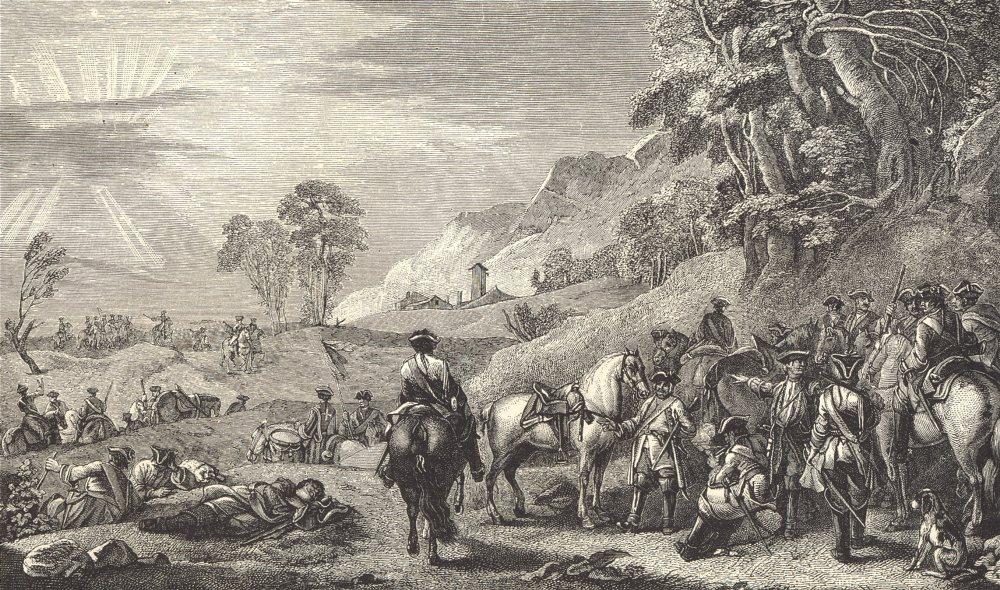 18TH CENTURY FRANCE. A Cavalry Halt; after Parrocel 1876 old antique print